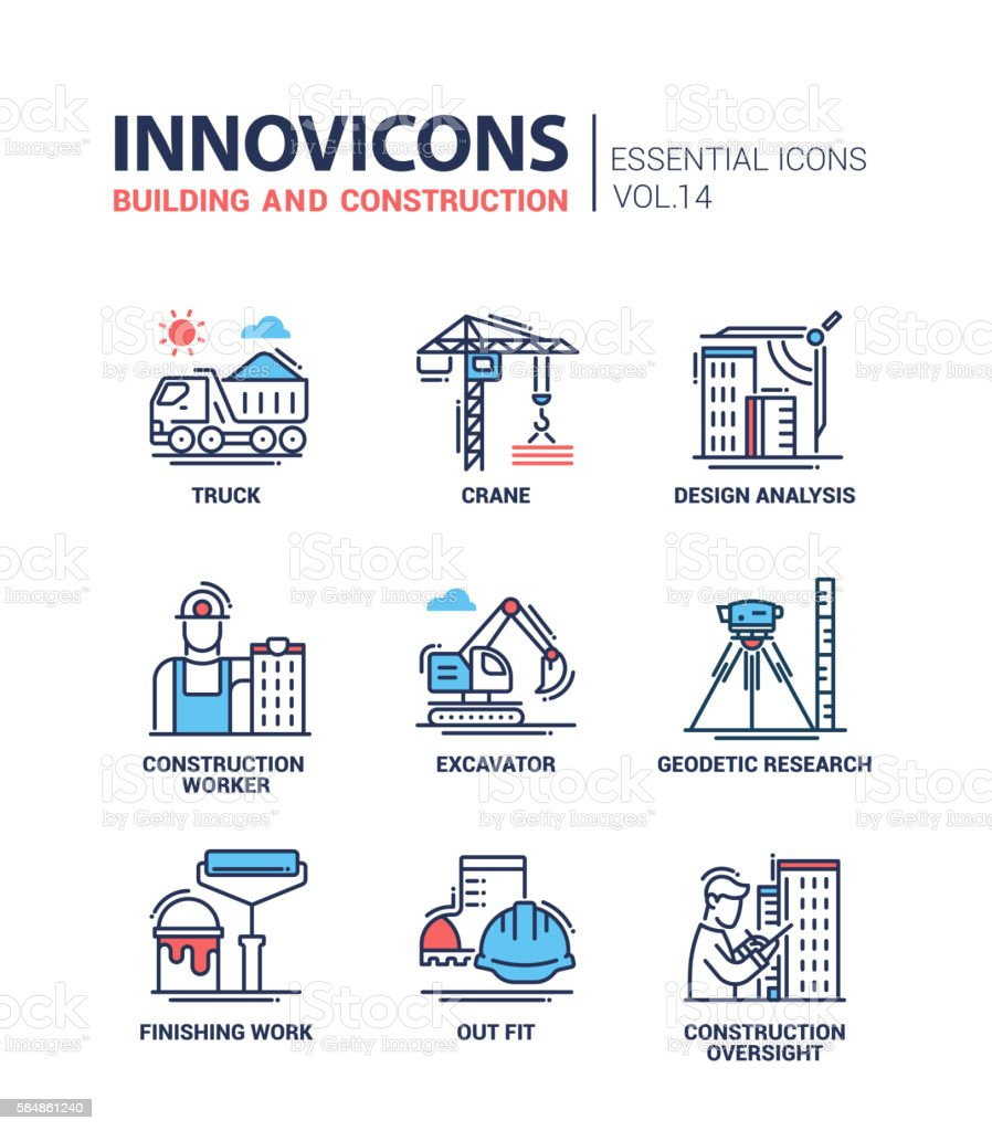 Building and construction line design icons vector art illustration
