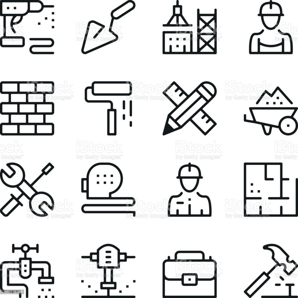 Building and construction line icons set. Modern graphic design concepts, simple outline elements collection. Vector line icons vector art illustration