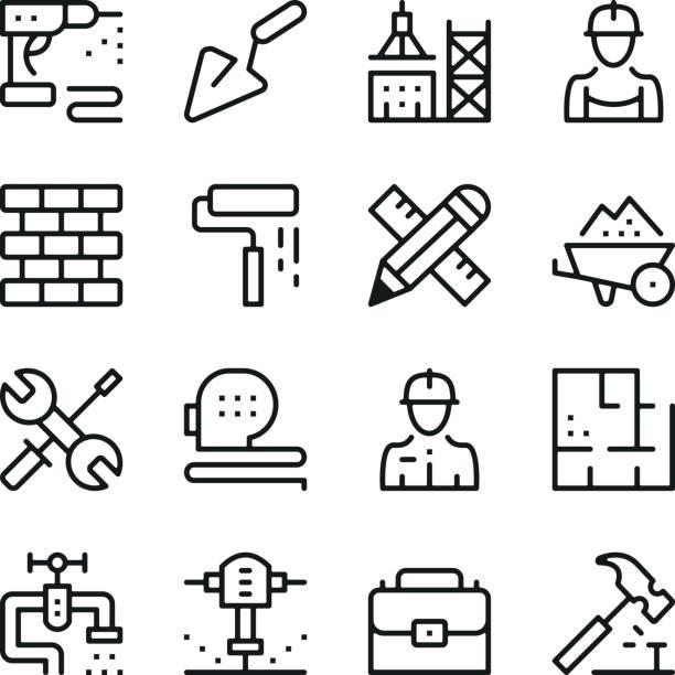 ilustraciones, imágenes clip art, dibujos animados e iconos de stock de set de iconos de línea de la construcción. conceptos de diseño gráfico moderno, colección de elementos de contorno simple. iconos de línea del vector - obrero de la construcción