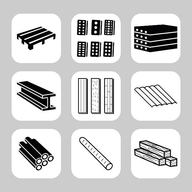 ilustrações de stock, clip art, desenhos animados e ícones de construção e materiais de construção vector conjunto de ícones - material de construção