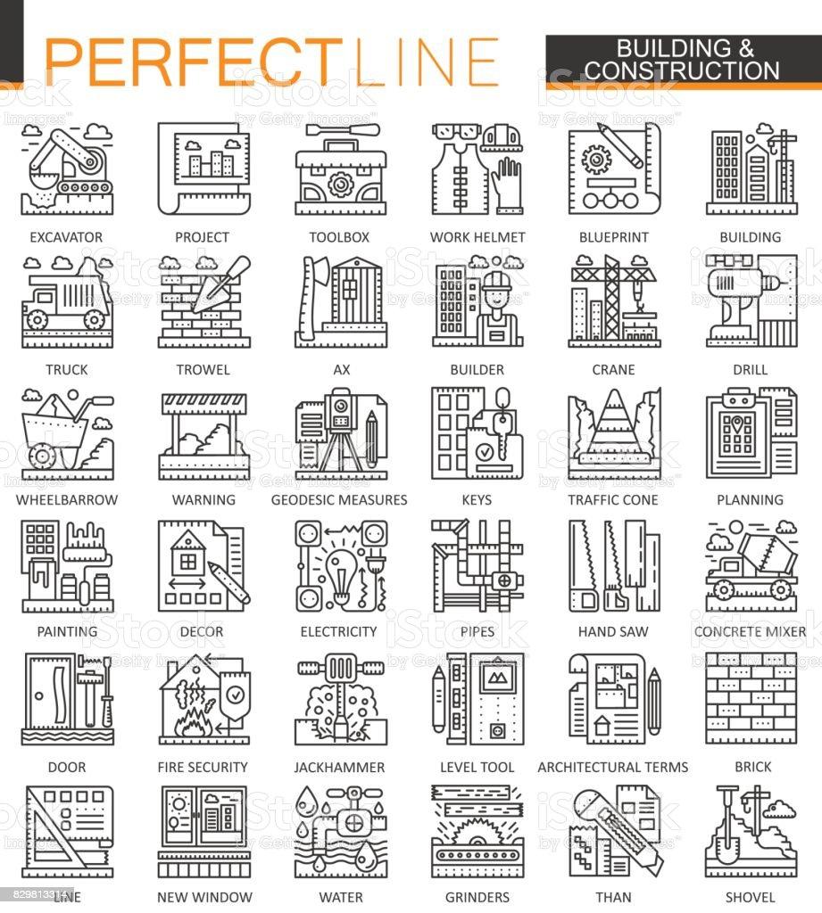 Building And Construction Outline Mini Concept Symbols Home