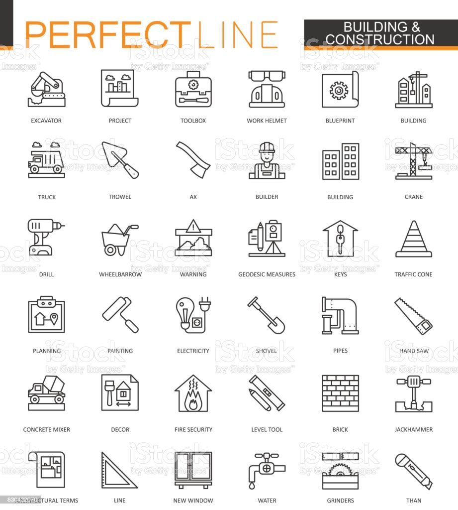 Building and construction thin line web icons set. Home repair tools outline stroke icons design. vector art illustration