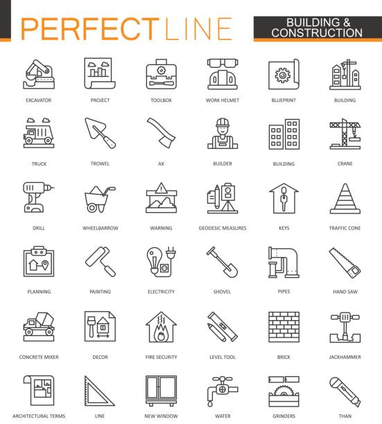 Bau- und dünne Linie Web Icons set. Home Reparatur-Werkzeuge umreißen Schlaganfall Symbole Entwurfs. – Vektorgrafik