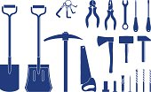 Building and Construction Tools icons - Vector Icon Set including: hammer, screwdriver, saw, wrench