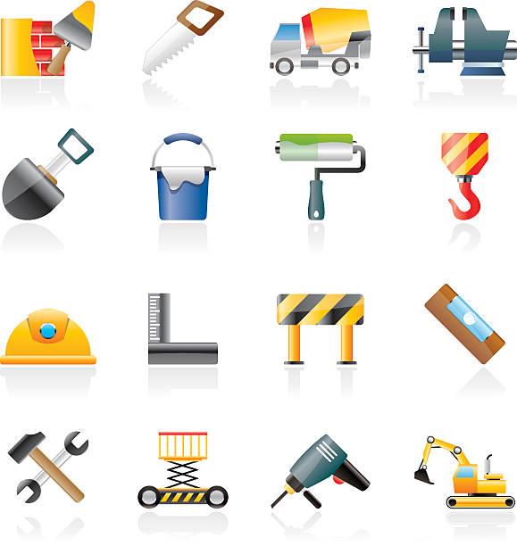 bildbanksillustrationer, clip art samt tecknat material och ikoner med building and construction tools icons - construction workwear floor