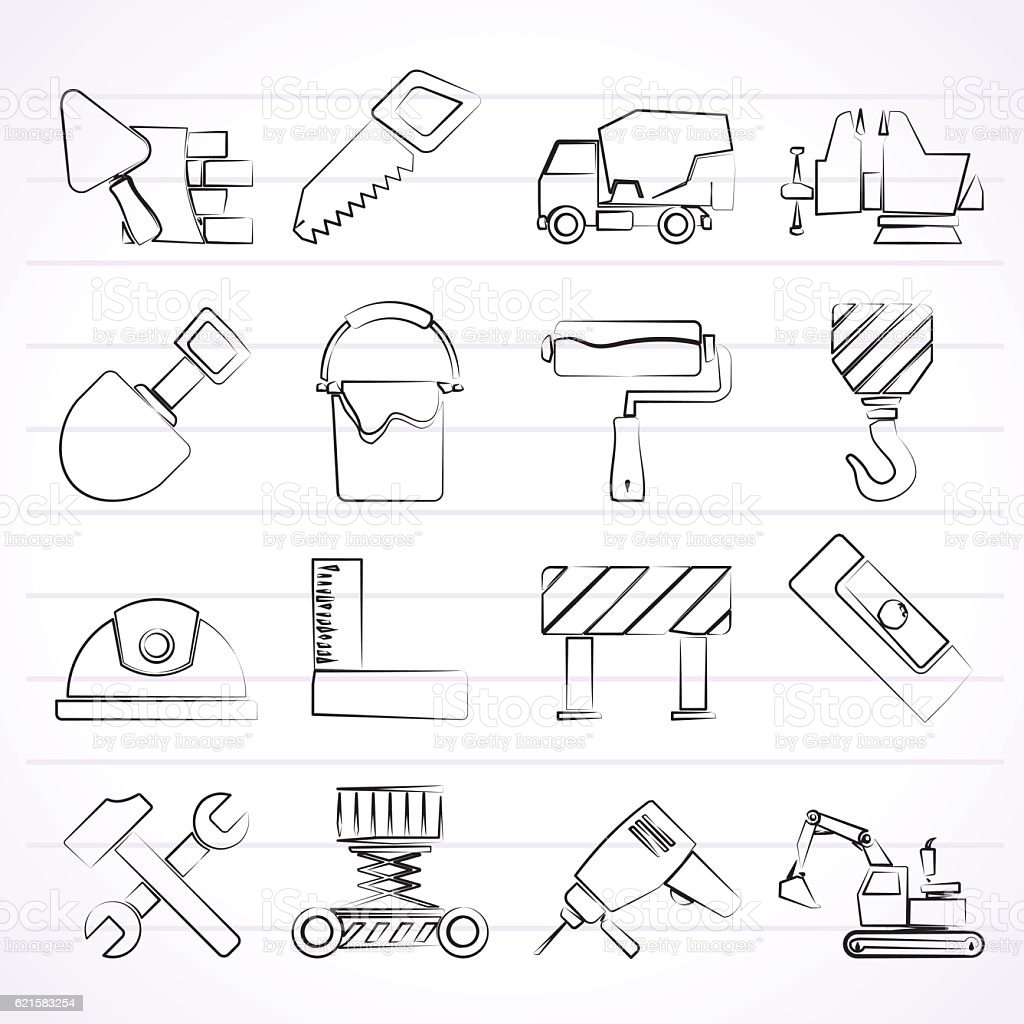 building and construction tools icons stock vector art 621583254
