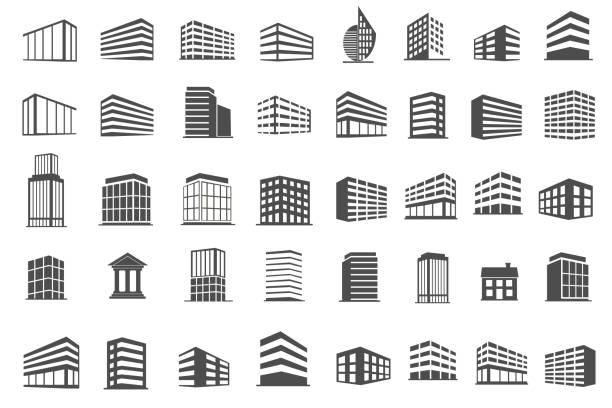 illustrations, cliparts, dessins animés et icônes de bâtiment et immobilier icônes définies illustration vectorielle - immeuble
