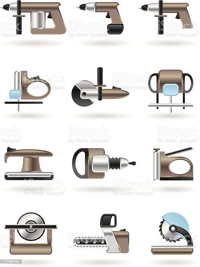 Building and furniture power tools vector art illustration