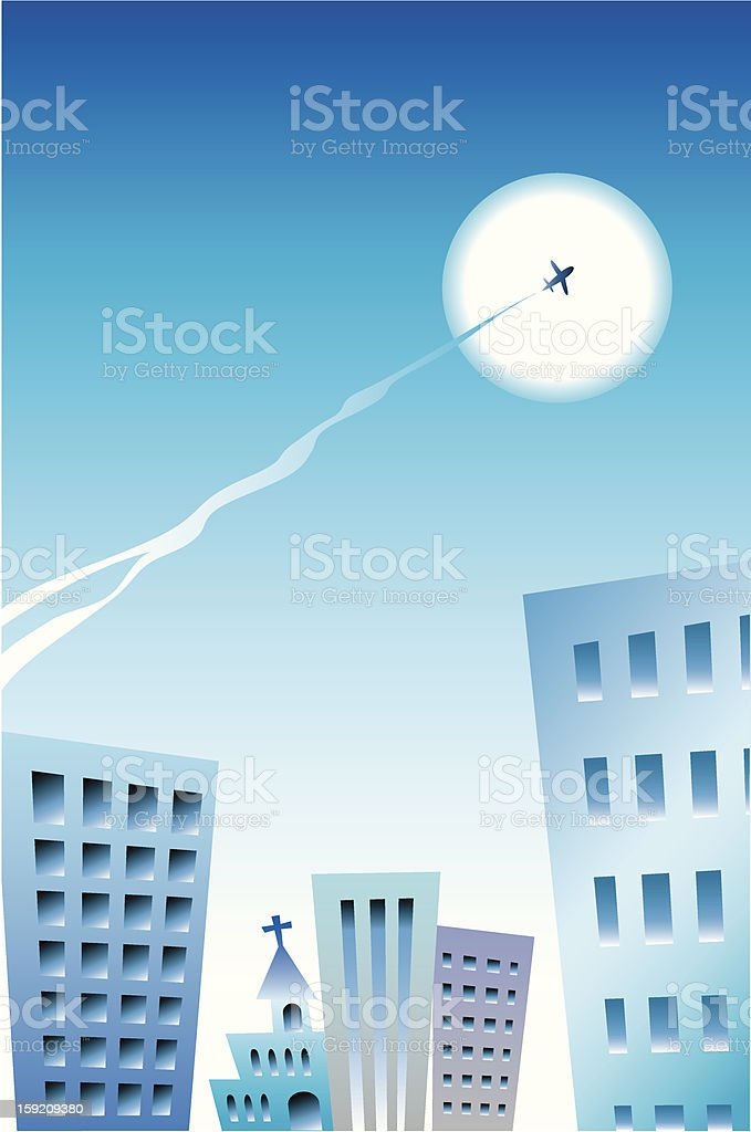 Building and jet stream royalty-free stock vector art