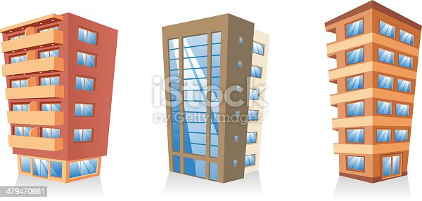 Building apartment condominium edifice structure house collection vector illustration.