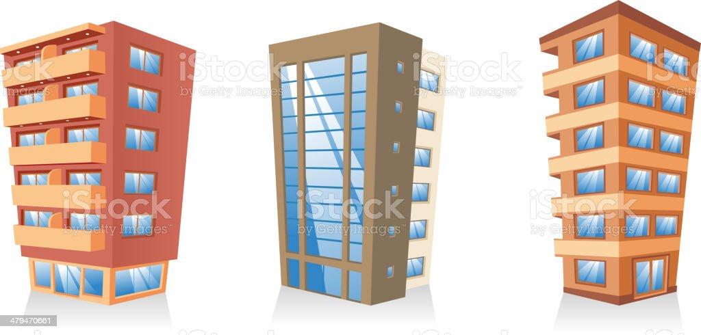 Gebäude apartment-apartment-Gebäude Struktur house Kollektion – Vektorgrafik