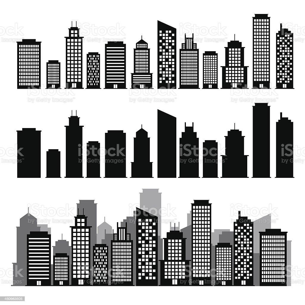 Building black and white icon set. vector art illustration