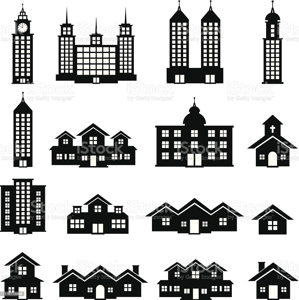 Building Black and White set 6 royalty-free stock vector art