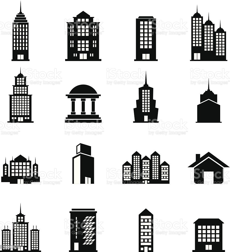 Building Black and White set 8 royalty-free stock vector art