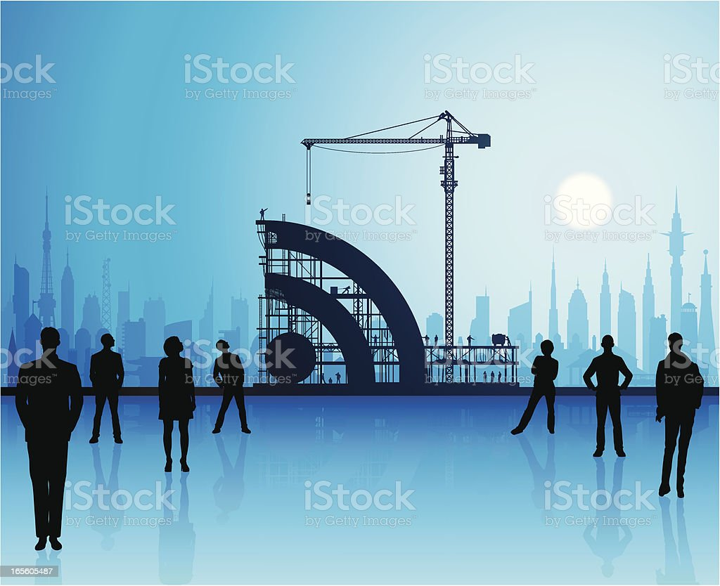 Building Blue RSS royalty-free stock vector art