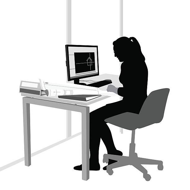 building blueprint designer - オフィス外勤務点のイラスト素材/クリップアート素材/マンガ素材/アイコン素材