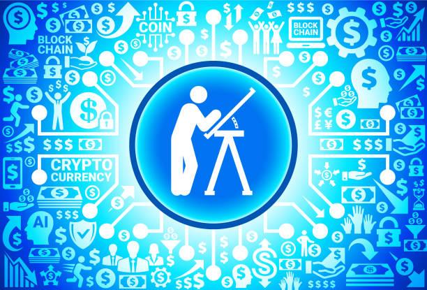 bildbanksillustrationer, clip art samt tecknat material och ikoner med byggnadens ritningar ikonen på pengar och kryptovaluta bakgrund - man architect computer