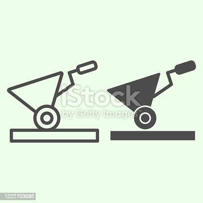 istock Building cart line and solid icon. Garden construction empty trolley symbol, outline style pictogram on white background. Home repair vector sign for web and mobile concept. 1222703585