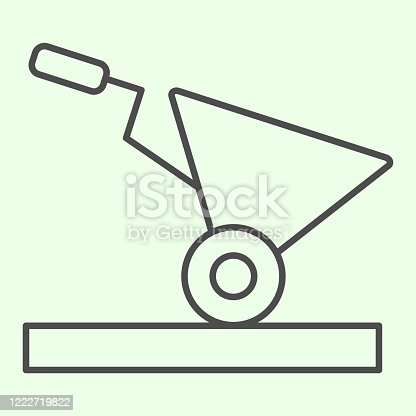 istock Building cart thin line icon. Garden or construction empty trolley outline style pictogram on white background. House repair and renovation signs for mobile concept and web design. Vector graphics. 1222719822