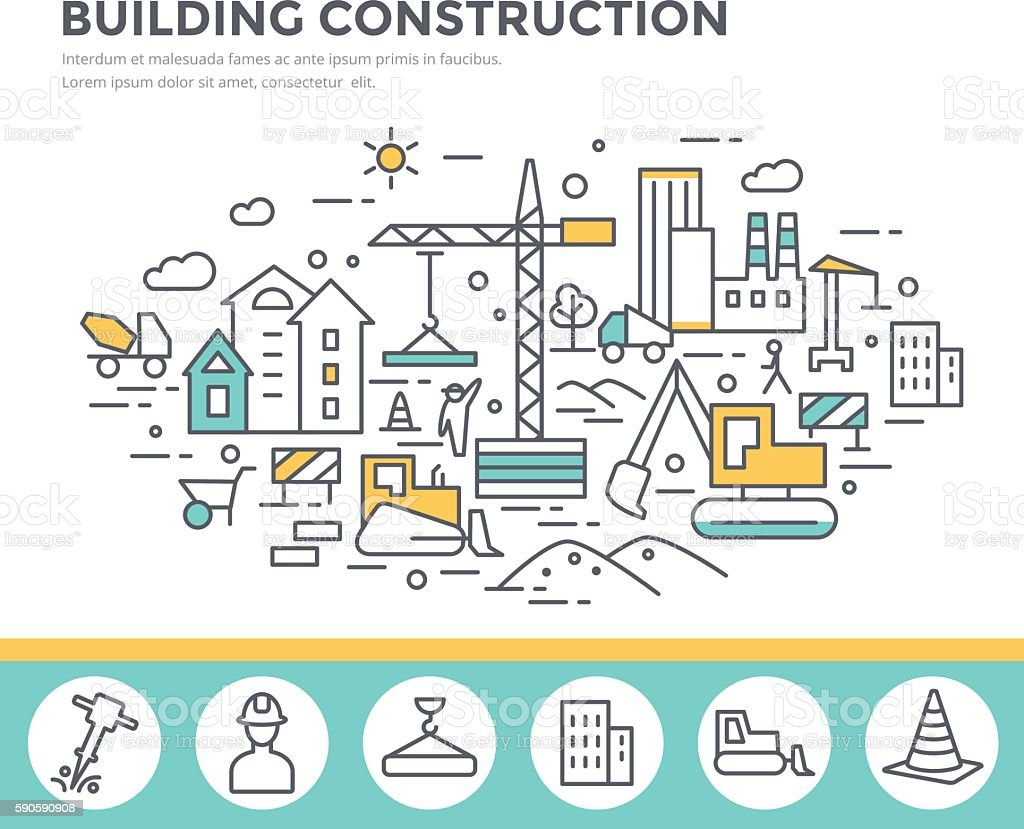 Building construction concept illustration. vector art illustration