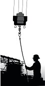 A vector silhouette illustration of a construction worker loading a cable into a crane with scaffolding in the background.