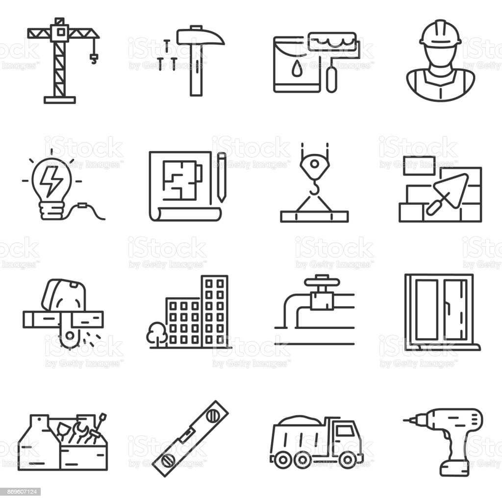 building construction icons set. Editable stroke vector art illustration