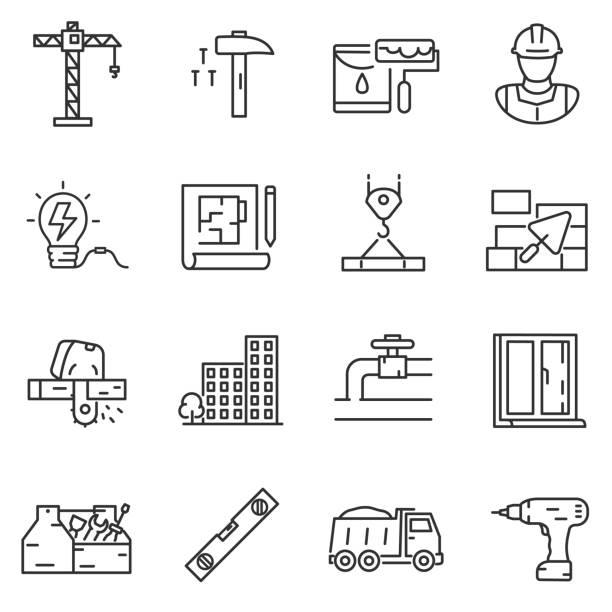 bau bau symbole festgelegt. editierbare schlaganfall - nagelplatte stock-grafiken, -clipart, -cartoons und -symbole