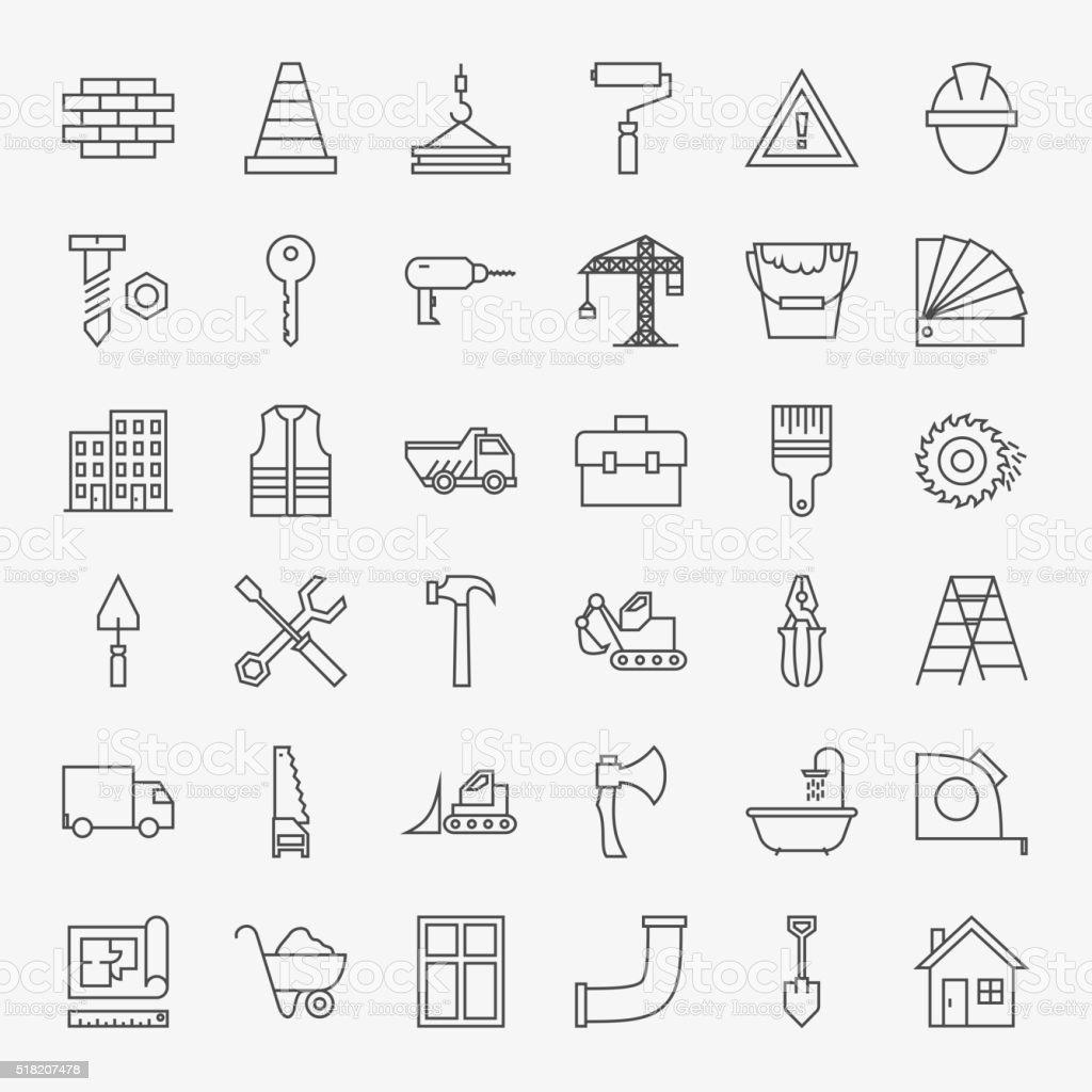 Building Construction Line Art Design Icons Big Set vector art illustration