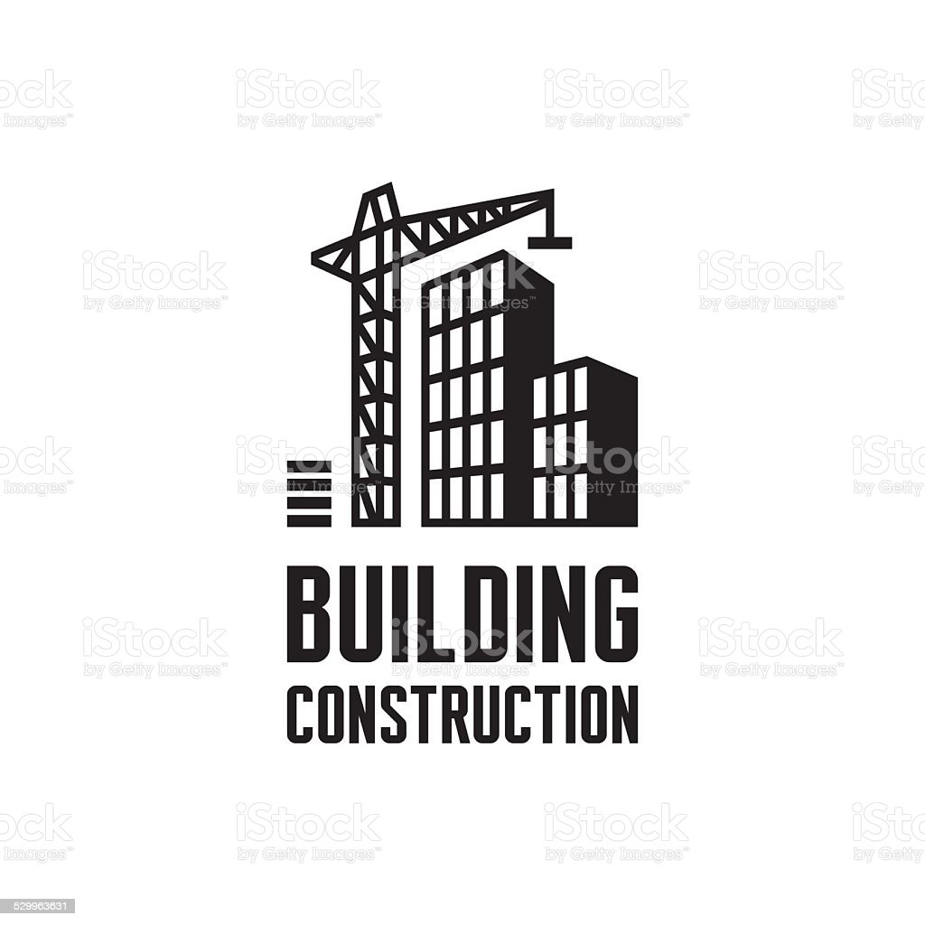 Building construction logo illustration. Crane and building construction illustration concept. vector art illustration