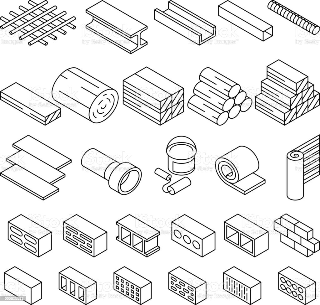 Building construction materials for repair isometric vector icons vector art illustration
