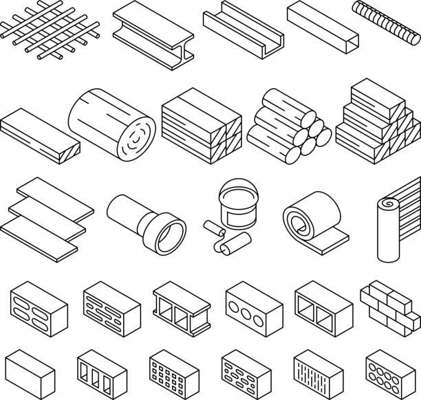 Bau Baustoffe für Reparatur-isometrische Vektor-icons – Vektorgrafik