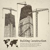 Building construction sketch. Hand drawn vector illustration.