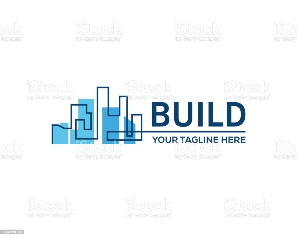 Gebäude errichtet. – Vektorgrafik