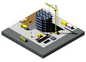 Building Construction vector isometric illustration, includes high detailed vehicles.