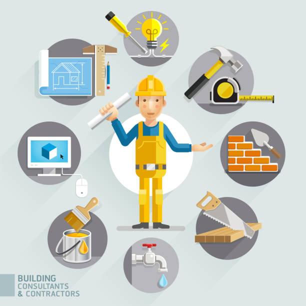 Building consultants & contractors. Building consultants & contractors. home improvement stock illustrations