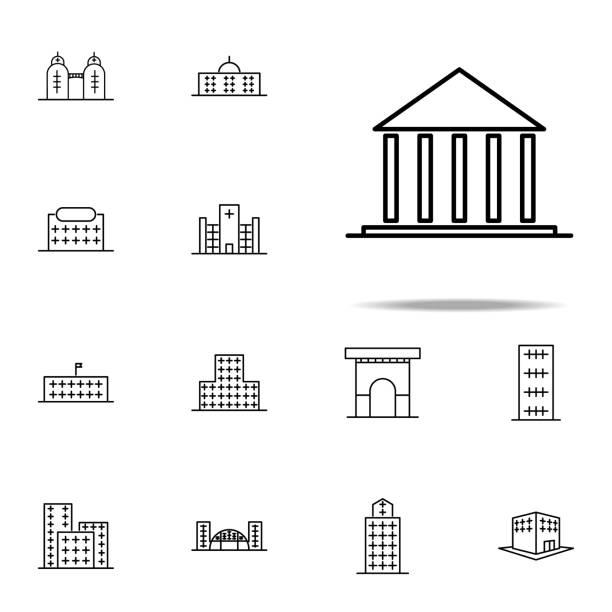 bina, mahkeme simgesi. web ve mobil cihazlar için evrensel set oluşturma simgeleri - supreme court stock illustrations
