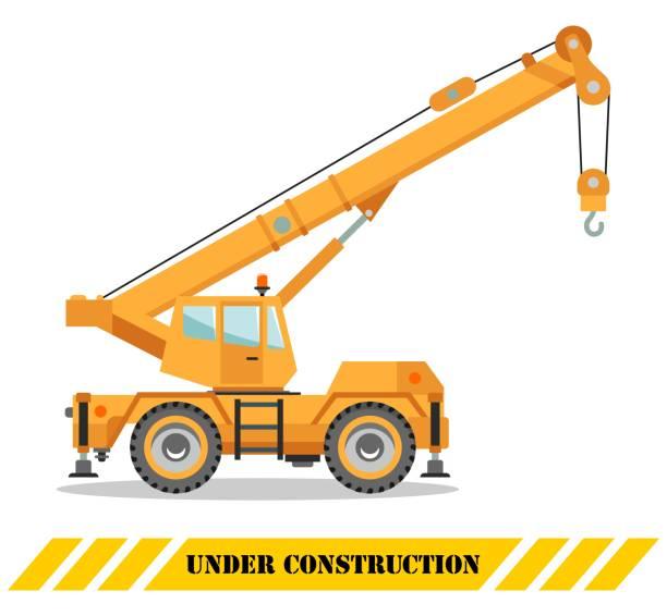 ilustrações, clipart, desenhos animados e ícones de caminhão guindaste de construção. máquinas e equipamentos pesados. máquina de construção. ilustração em vetor. - mobile