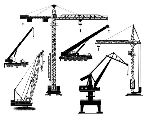 Building construction cranes silhouettes set, isolated on white. Vector illustration. Icon. Flat style.