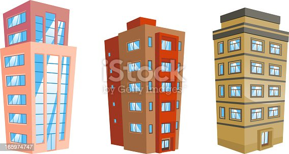 Set of 3 Building edifice structure apartment condominium tower construction house set 6 residential or office buildings in cartoon style.