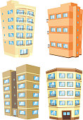 Set of 4 Building edifice tower apartment condo structure home house set 5 residential and office buildings in cartoon style.