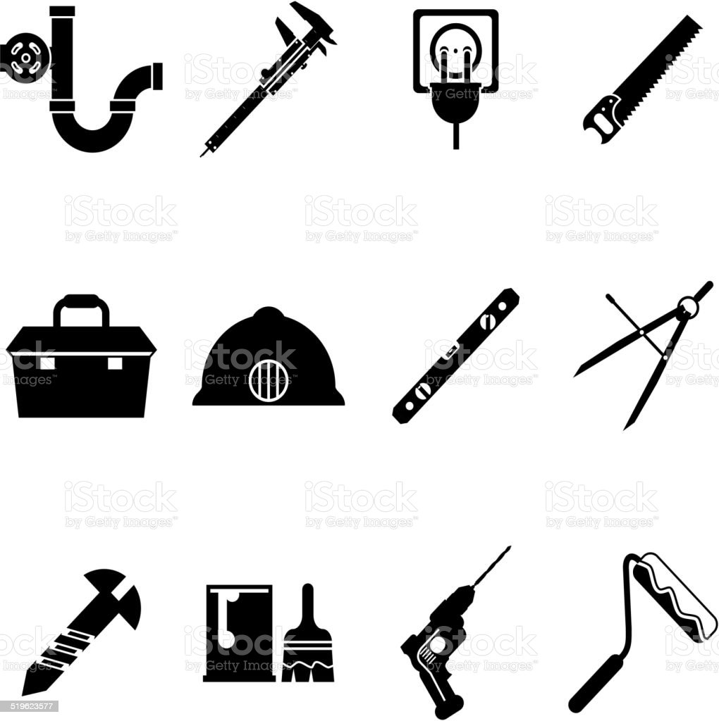 building equipment icons and construction tools symbols silhouette
