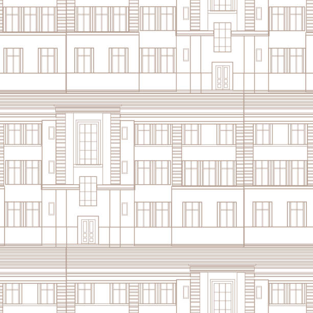 Royalty free abstract seamless blueprint background clip art vector building facade seamless pattern retro architectural blueprint background with windows vector art illustration malvernweather Choice Image