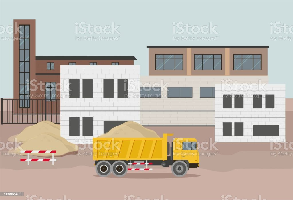Building factory industry zone. Construction specialized transport vector art illustration