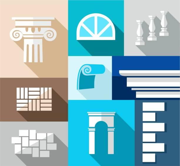 building, finishing materialien repariert, flache illustrationen, icons. - gesims stock-grafiken, -clipart, -cartoons und -symbole