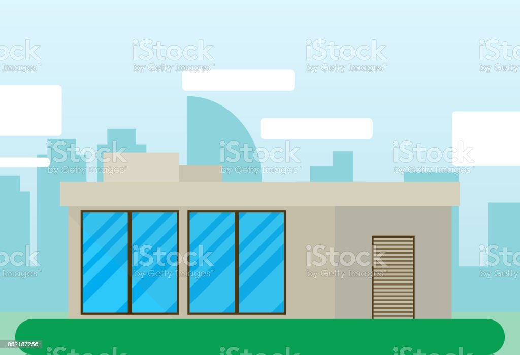 Building house flat icon with city landscape vector art illustration