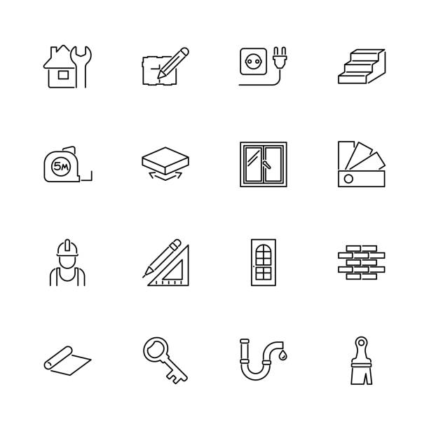 building house - flat vector icons - basement stock illustrations