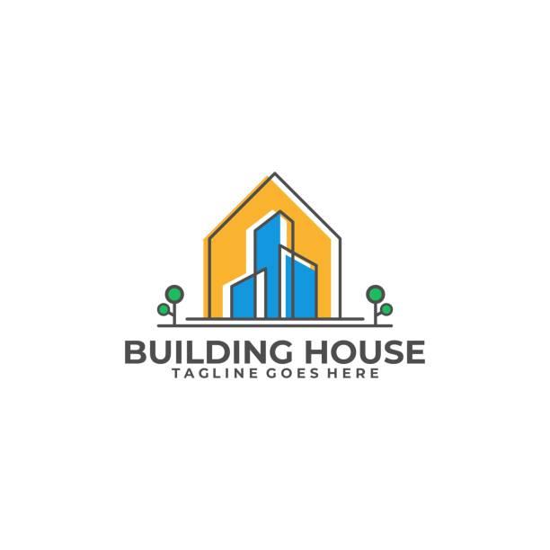 ilustrações de stock, clip art, desenhos animados e ícones de building house illustration vector template - isolated house, exterior
