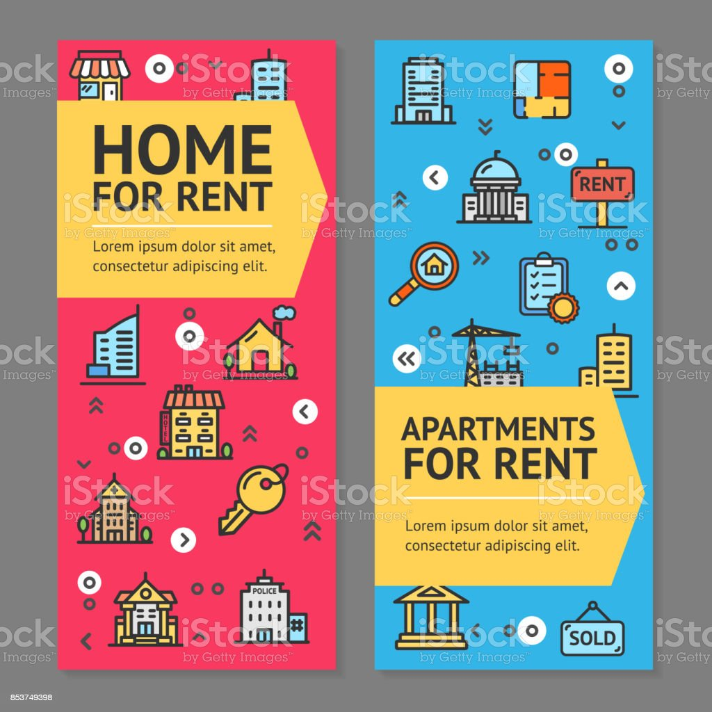 Building House Or Home And Apartment For Rent Flyer Banner Posters