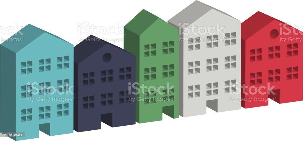3 D のビルの住宅街 3dのベクターアート素材や画像を多数ご用意 Istock