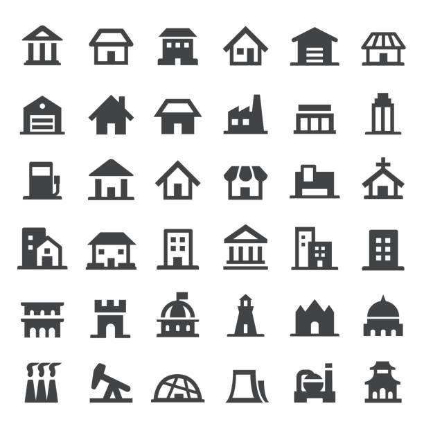 stockillustraties, clipart, cartoons en iconen met gebouw icon - grote reeksen - klein